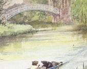 Vintage 1959 Childrens Book Page Illustration, Animal Friends Rowing Down River in a Canoe, Mole and Mouse