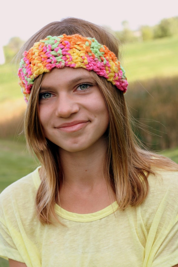 Teen Fuzzy Headband - Green Yellow Orange and Pink