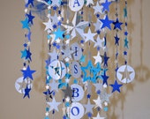 A Star is Born Crib Mobile (Blue/Teal/White/Silver), Stars Mobile, Nursery Decor, Baby Shower Gifts READY TO SHIP