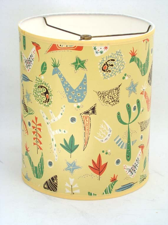Rooster Lamp Shades on Drum Lamp Shade In Mid Mod Atomic Chicken Rooster 1950 S Vintage