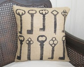 Keys -    Burlap  Pillow - Feed Sack Chic - Burlap Pillow with Skeleton Key Design - nextdoortoheaven