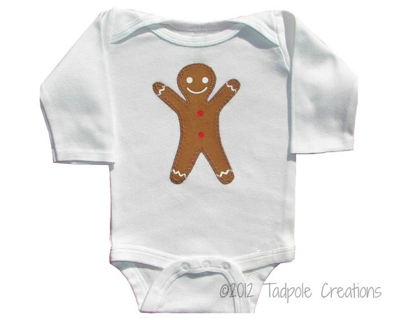 Gingerbread Man Baby Bodysuit - Newborn - 0 to 6 Months, 6 Months, 12 Months, 18 Months Sizes - LONG SLEEVE