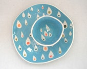 Ready to Ship-----Dessert plate Pink Raindrops - CeramicaBotanica