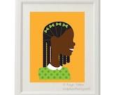 Girl in green with braids - Customized Children's art & decor