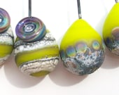 Electric Lime Stone- Rainbows and Threads- Handmade lampwork glass headpin pairs- tear drop in matte lime with stone texture
