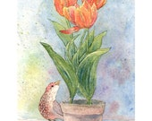 "Print of Original Art ""Brown Bird with Orange Tulips"" Watercolor - digiliodesigns"