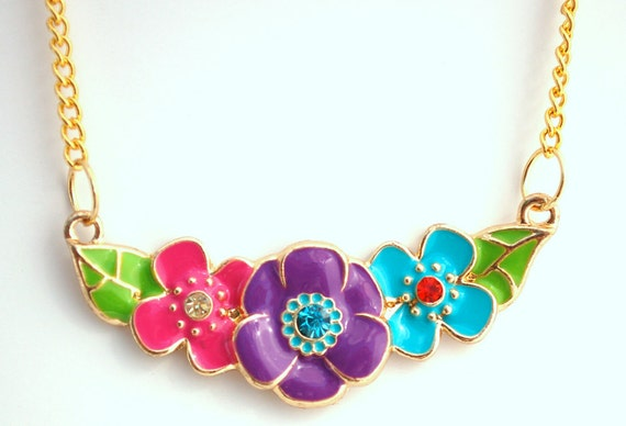 Colorful Enamel Flower Necklace Buy 3 Get 1 Free