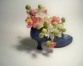 REDUCED PRICE Petite Silk Flower Arrangement In A Blue Princess High Heel Shoe Pink And White Berry Accents - TeacupTussie