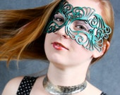 Coquette leather mask in teal