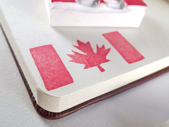 whimsical canadian flag - hand carved stamp