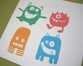 Monster Rubber Stamp Set, Hand Carved Set of Four 4