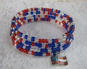 Fourth of July Celebration bracelet - American red white and blue