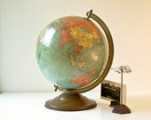 "Vintage Globe - 12"" Replogle - Aqua Green Color - BeeJayKay"