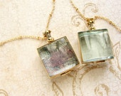 Square beveled glass locket long necklace - brass gold tone square heirloom glass locket necklace bridal wedding locket