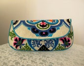 Clutch Purse in Ivory Teal Turquoise Blue Ethnic Floral Print Vintage Fabric Size Large cc050 - made to order