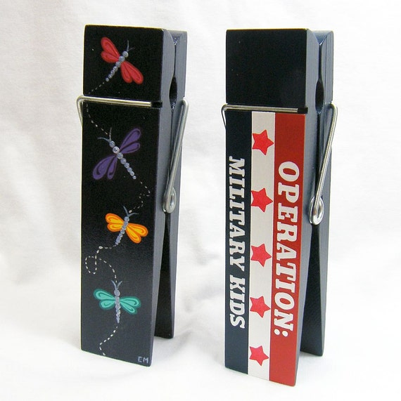 CUSTOM/RESERVED for Marci K. - Red/White/Blue Memo Holder, Dragonfly Memo Holder, Hand Painted Personalized Office Door Sign