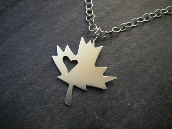 ON SALE For Canada Day 20% off, Sterling silver maple leaf with heart cutout