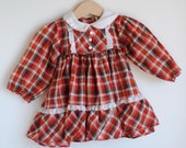 Vintage Baby Girl Dress - FALL Color Plaid (6m) - HartandSew