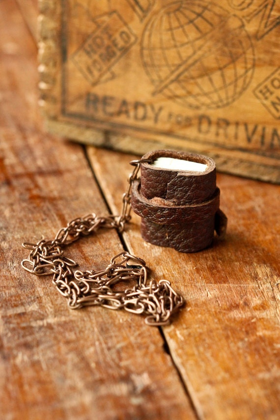 Mini Leather Journal Necklace - Rustic Book Jewelry