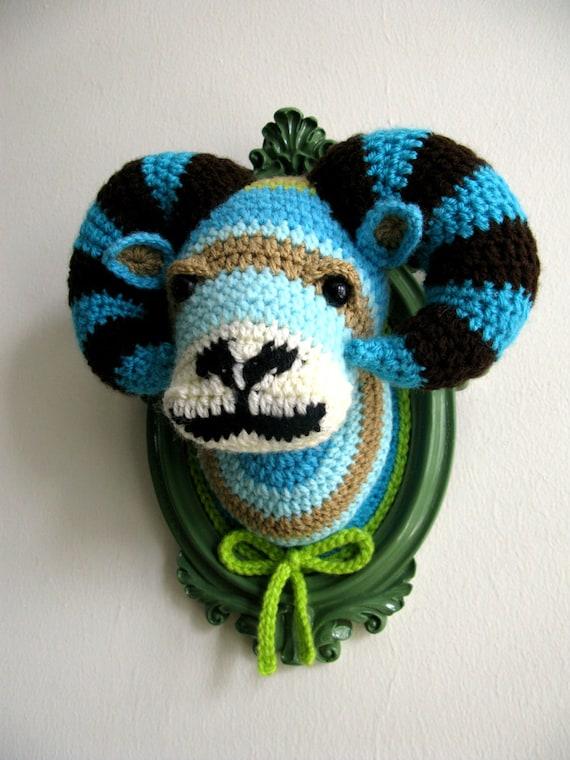 Crochet ram head  in a sage-green frame
