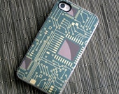Metallic Computer Chip Custom iPhone 4 or 4s Case, - tech lover, geekery,  gifts for him - hhprint