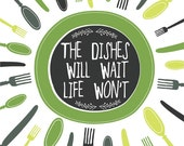 Kitchen Art Print, GREEN Kitchen Decor, Plate, Utensils, Dishes Illustration, Kitchen Saying Art - ParadaCreations
