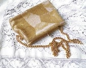 Shimmery Vintage Gold Beaded Purse By Debbie - glassbeadtreasures