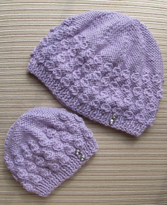 Number 66 PDF Knitting Pattern Hazelnut Stitch Hat in Sizes 0-6 Months and Adult