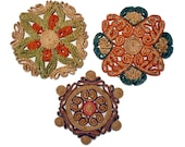 Vintage Straw Trivets set of three Boho Ethnic Decor - BlueRoseRetro