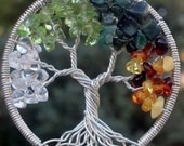 Ready To Ship - Four Seasons Tree of Life Pendant - Recycled Sterling Silver, Quartz, Peridot, Emerald, Amber - Original Design by Ethora - ethora