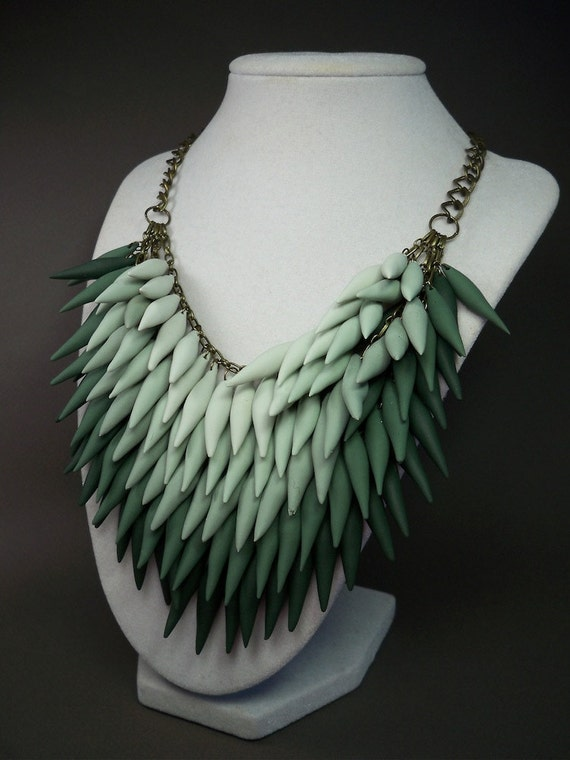 Le Jardin Polymer Clay Spike Statement Necklace - Green - Ombre