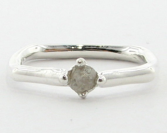 Almost Square, a Promise Ring w/ Raw Diamond