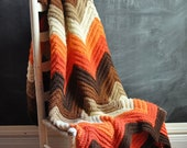 Vintage Afghan Blanket  70s Crocheted Zig Zag Warm Fall Colors - drowsySwords