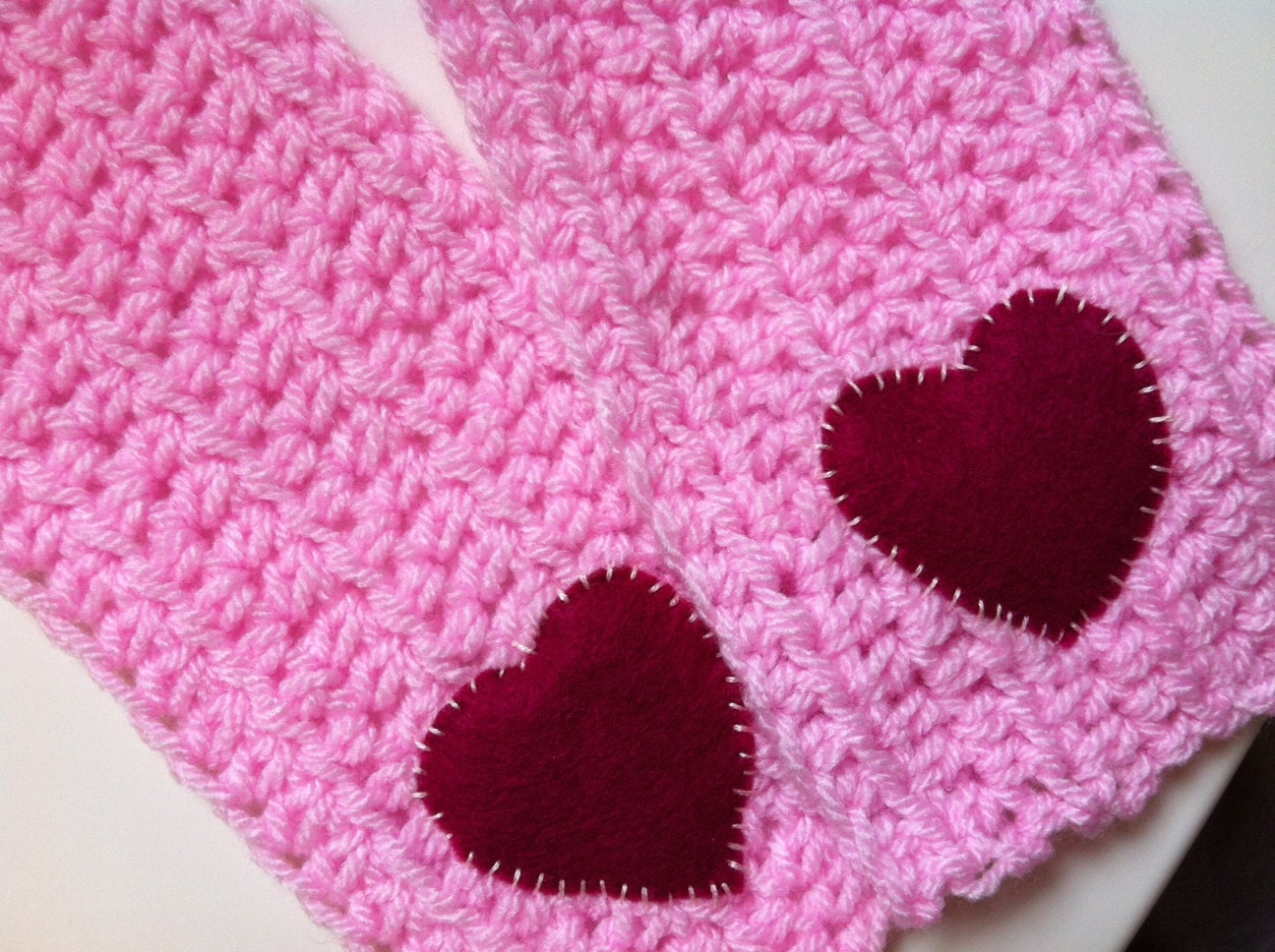Crochet Scarf Pink Girls Heart Scarf by Kookooed on Etsy Crochet Childrens Scarf