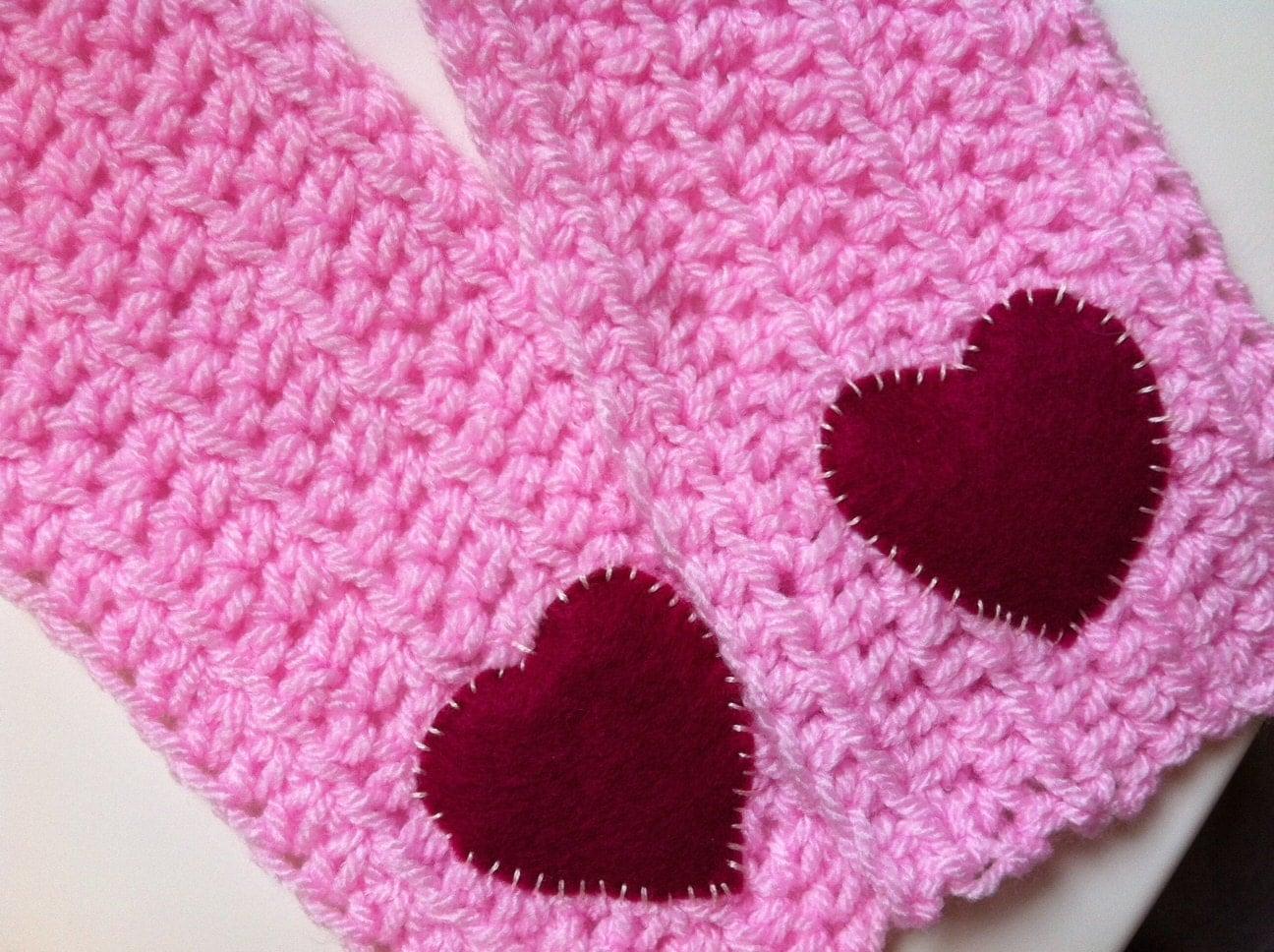 Crochet Scarf Pink Girls Heart Scarf by Kookooed on Etsy Crochet Childrens Scarf