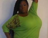 Viva - Posh N Petals Knit Kiwi Green Lace and Gold Sequin  Embellished Blouse - 1 X  - 2X Plus Size