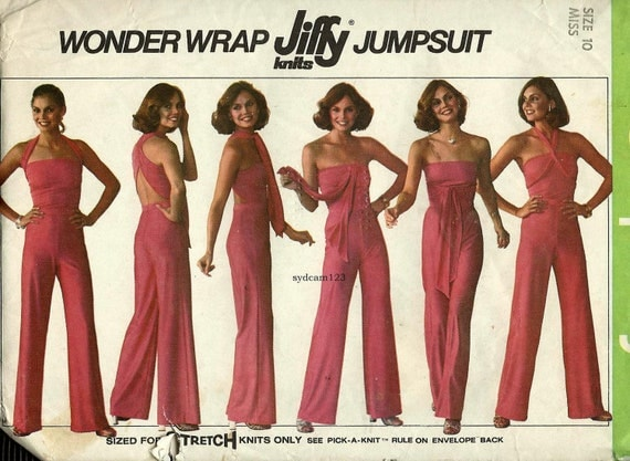 Vintage 1977 Knit Wrap Jumpsuit...Wraps Six Ways...Simplicity 7957 Bust 32.5 UNCUT