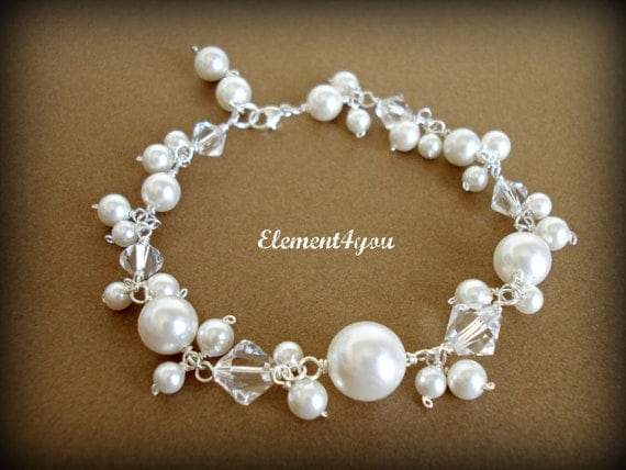 Bridal bracelet sterling silver Wedding jewelry Swarovski pearls crystals Dangle Beaded Bauble style Maid of honor gift Wire wrapped ivory
