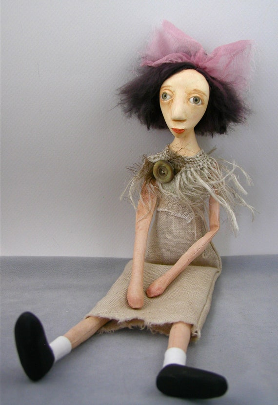 cloth and clay collectible folk art doll painted hand stitching Eugenia original sculpt