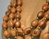 Olive Wood Beads with African Trade Beads Bib Style Necklace & Earrings