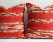 Sukan / SET (2 Piece) Organic Shine Society Modern Bohemian Throw Pillow. Handwoven Vintage Tribal Turkish Red Kilim Pillow Cover