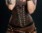 Meschantes Steampunk Vegan Leather Waist Cincher Corset - Your Size - MeschantesCorsetry