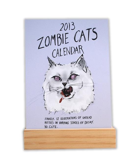 Zombie Cats Illustrated Desk Calendar 2013