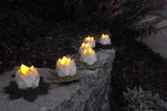 Origami Lotus Lanterns- set of 5 natural paper LED candle holders, gift boxed, free US shipping