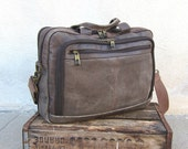 Vintage Taupe Grey Multiple Pocket Large Satchel Briefcase w/Shoulder Strap - Trustfund21