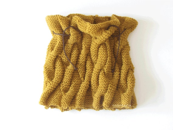 Mustard yellow wool cowl