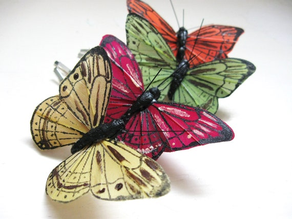 Butterfly Bobby Pins - Autumn set of four for whimsical weddings, bridesmaids, and free spirits