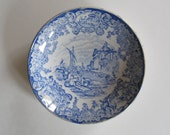 Antique Blue Transferware Deep Saucer Plate Victorian Staffordshire Emery Cyprus Collectible - PortRepublic