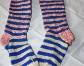 Fun Striped Hand Knitted Wool Socks Unused Never Worn - EmeliasCloset