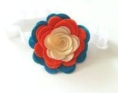 Cream, orange and turquoise felt flower headband - baby headband - chicsweetbabytique